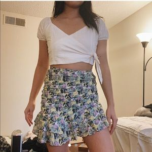SHEIN Skirts - Floral Watercolor Ruched Skirt
